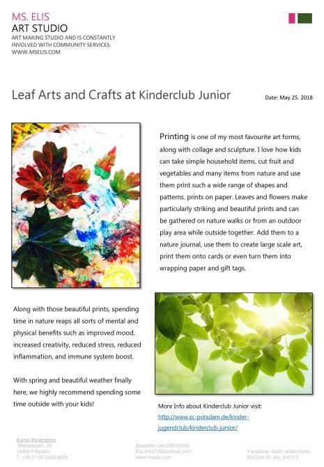 press 25.5.2018 一堂叶子印象,大自然就是孩子最好的教室 english