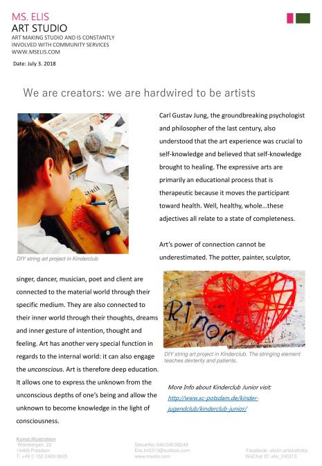 press 3.7.2018 We are creators. we are hardwired to be artists-page-engslih