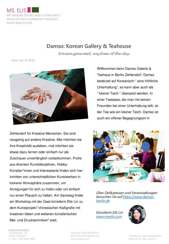 press 29.9.2018 Damso Korean Gallery_Teahouse-deutsch