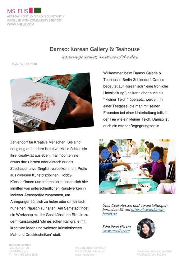 press 29.9.2018 Damso Korean Gallery_Teahouse-deutsch