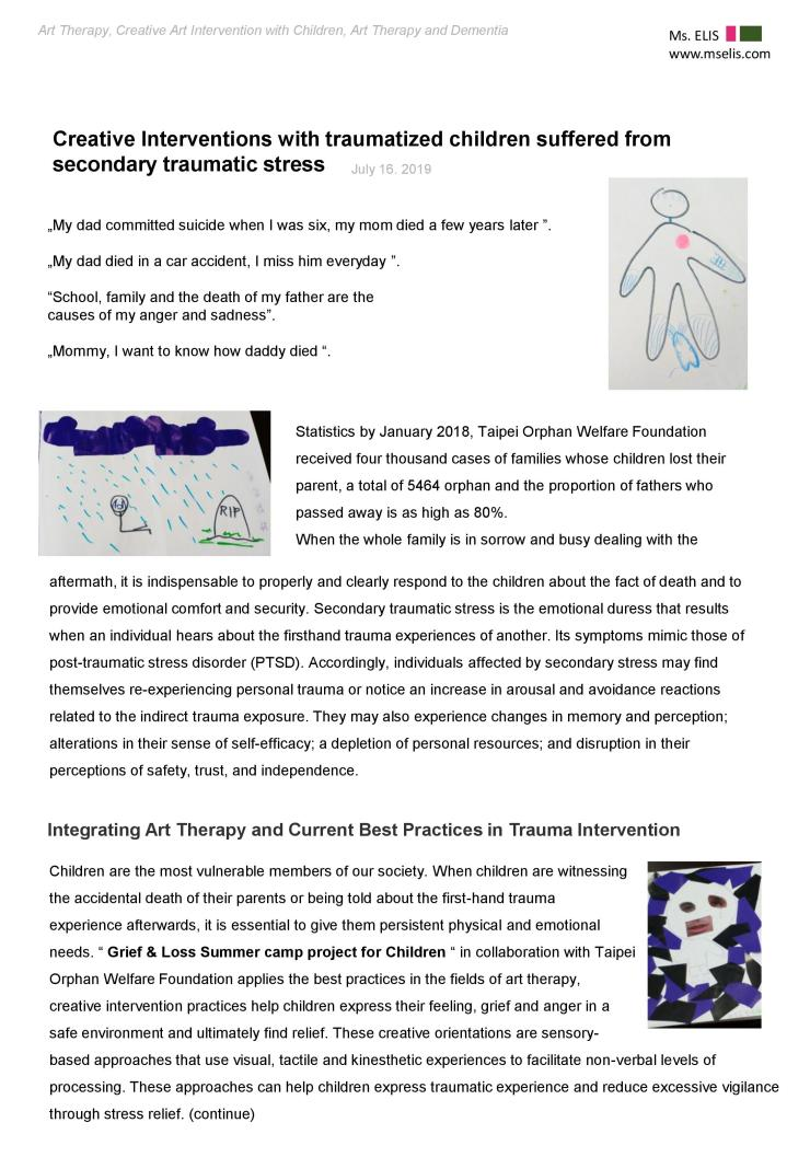 press 16.7.2019 Creative Interventions with traumatized children suffered from secondary traumatic stress