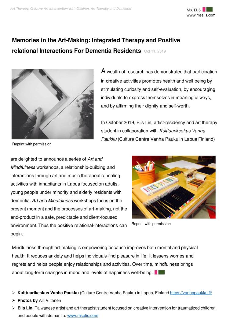 press 11.10.2019 Memories in the Art-Making Integrated Therapy and Positive relational Interactions For Dementia Residents-page-001